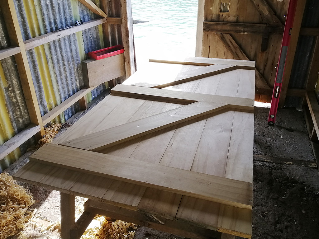 Bach 78 Boat shed new door under construction